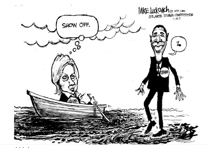 Obama kävelee veden päällä